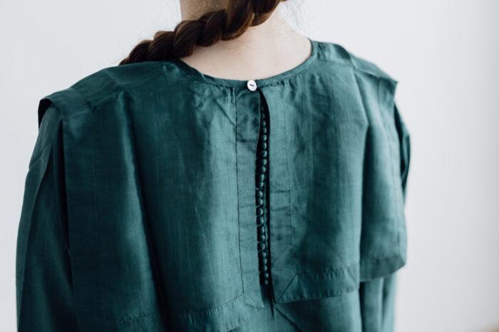 Khadi Silk Back Button Sailor Blouse green 5
