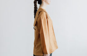 Khadi Silk Back Button Sailor Blouse mustard 2