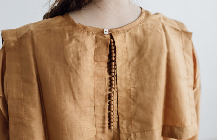 Khadi Silk Back Button Sailor Blouse mustard 5