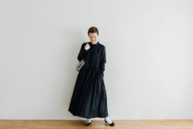 EMBROIDERY FRONT OPEN DRESS black×black 6
