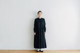 EMBROIDERY FRONT OPEN DRESS black×black 1