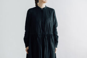 EMBROIDERY FRONT OPEN DRESS black×black 4