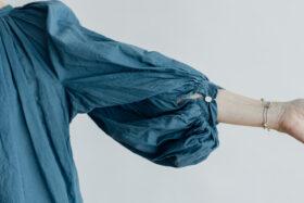 KHADI GATHER SMOCK blue gray 4
