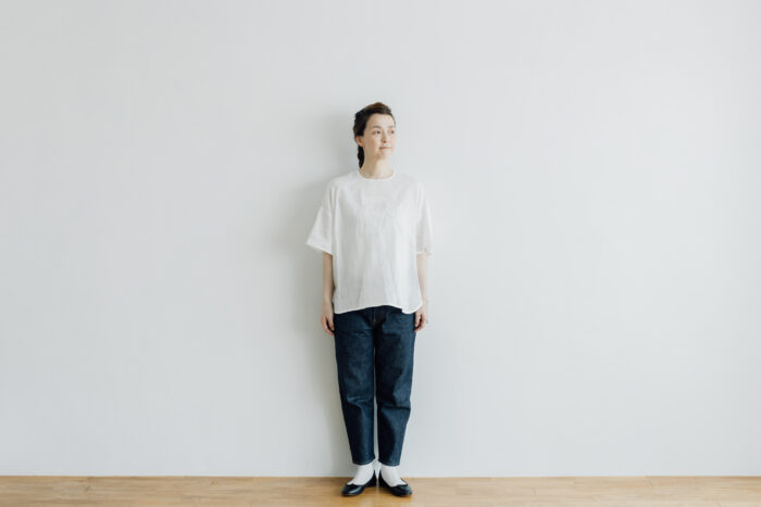 EMBROIDERY PULL OVER SHIRT white×white 6