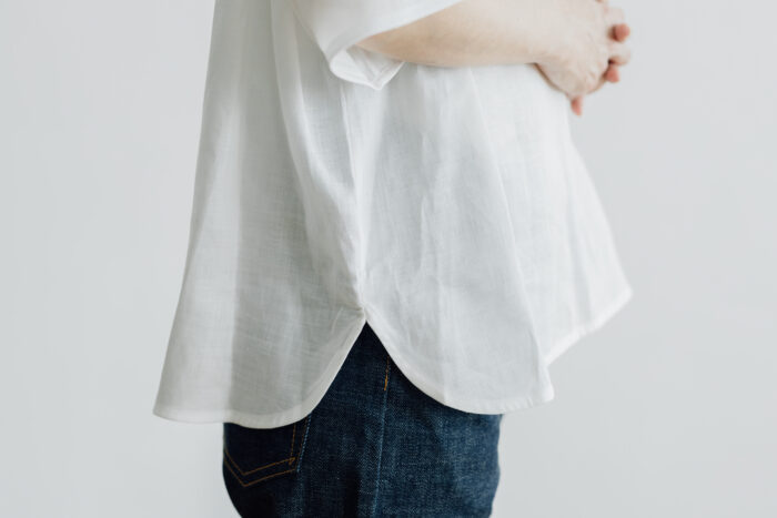 EMBROIDERY PULL OVER SHIRT white×white 5