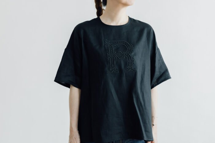 EMBROIDERY PULL OVER SHIRT black×black 1