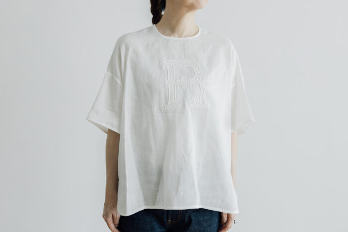 EMBROIDERY PULL OVER SHIRT white×white 1