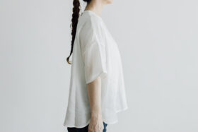EMBROIDERY PULL OVER SHIRT white×white 2