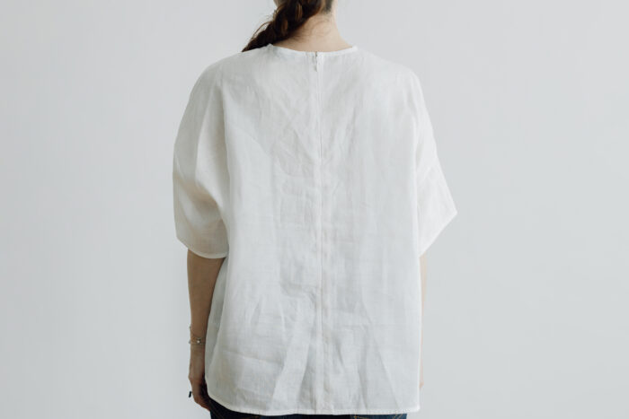 EMBROIDERY PULL OVER SHIRT white×white 3