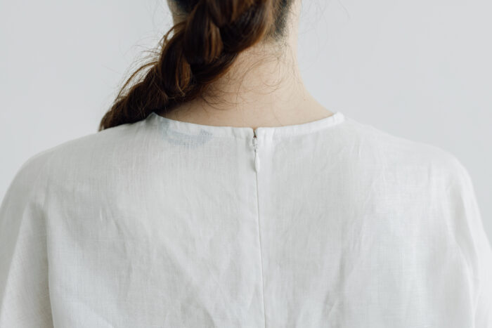 EMBROIDERY PULL OVER SHIRT white×white 4