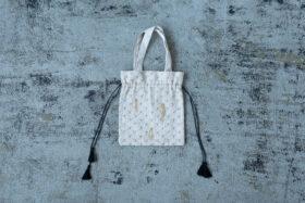 Embroidery Drawstring Bag L.gray 1