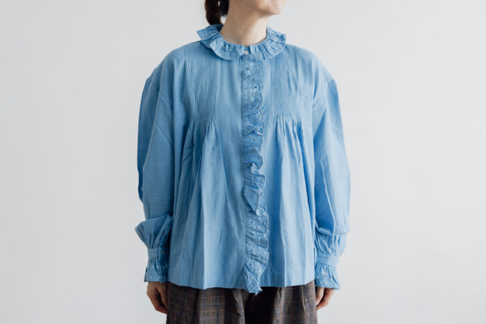 Embroidery Pintuck Blouse Sax blue 1