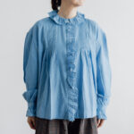 Embroidery Pintuck Blouse Sax blue