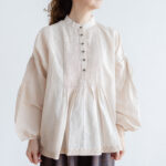 Embroidery Pintuck Blouse L.gray