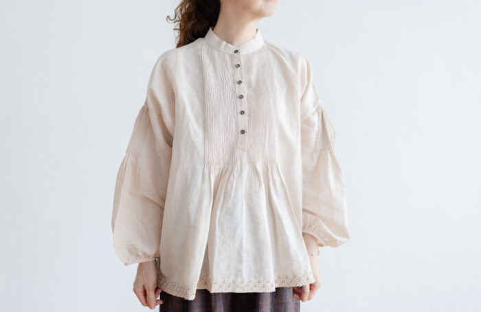 Embroidery Pintuck Blouse L.gray 1